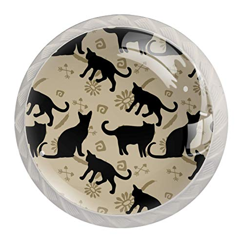Tiradores de cajones para cajones de cristal, diseño de gatos negros, 4 unidades