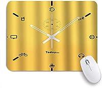 NIESIKKLAマウスパッド 白い時間針分針&秒針黄色の背景を持つユニークな時計 ゲーミング オフィス最適 おしゃれ 防水 耐久性が良い 滑り止めゴム底 ゲーミングなど適用 用ノートブックコンピュータマウスマット