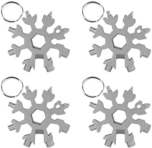 Snowflake Multi Tool 18 en 4 Llavero de acero inoxidable multiherramienta abrebotellas llave kit para viajes al aire libre, camping, aventura herramienta diaria (4 pcs)