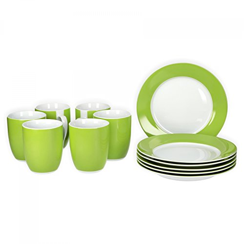 Van Well Frühstücksset 12-TLG. für 6 Personen Serie Vario Porzellan - Farbe wählbar, Farbe:grün