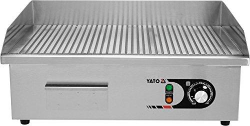 YATO Profi Gastro elektrische Grillplatte | 55x35 cm | geriffelt | 3000 Watt | Griddle Platte Bräter Grill Indutrie Imbiss