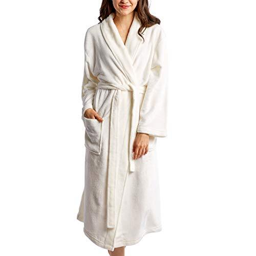Hallmark White Bathrobe for Women, Soft Womens Robes Long Plush Robe White