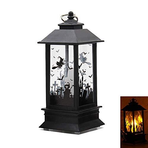 Retero Halloween Dekorative LED-Lampe, hängende Laterne, Flamme, Licht für Halloween, Tischdekoration (Schloss)