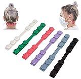 KNOCKY Maskenhalter, 6 Stück Maskenhaken Anti-rutsch Silikon Masken Ohrband Gummiband Verlängerungsriemen für Ohrschutz 3 Gang Einstellbare Haken Ohrenriemen für Erwachsene und Kinder (Farben)