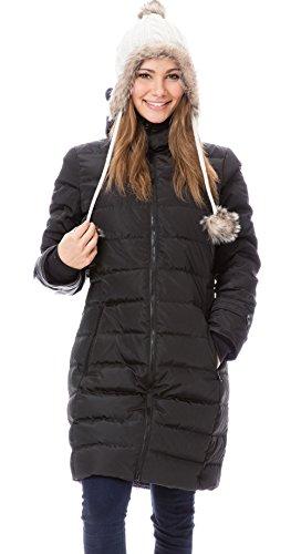 GoFuture Damen Tragejacke für Mama und Baby 4in1 Känguru Jacke Umstandsjacke Daunen Winter GF2265XA5 Schwarz mit blauem Innenfutter - 2