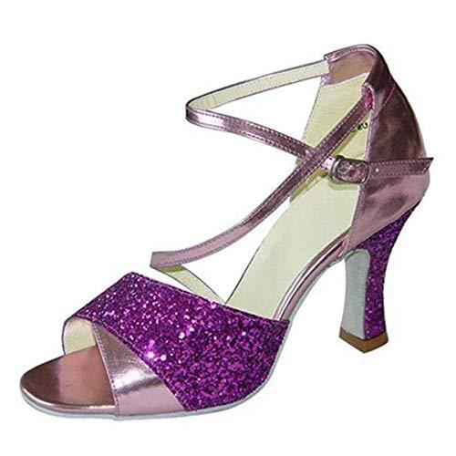 TTW Scarpe da Ballo Latino da Donna Sandali da Ballo con 3,15 '' Tacco Svasato in Pelle PU Verde/Viola da con Glitter Scintillanti,Purple,36