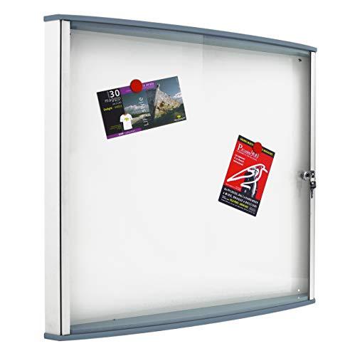 IPS WDX4 – Tablero de puerta batiente, marco de aluminio y perfiles de policarbonato grises, con cerradura y llave, fondo blanco magnético, 4 hojas A4