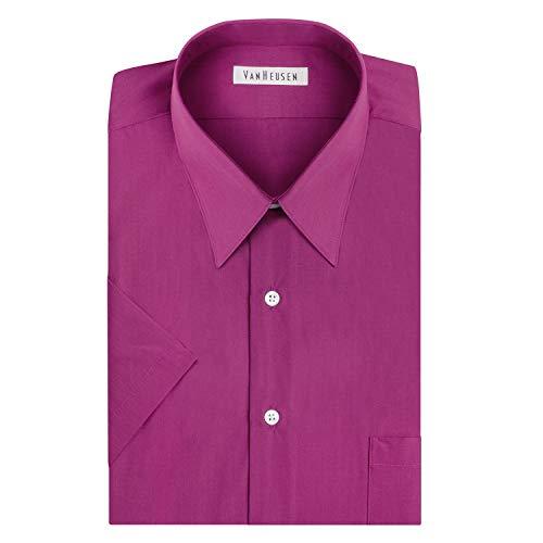Van Heusen mens Short Sleeve Regular Fit Poplin Solid Dress Shirt, Magenta, 15.5 Neck Medium US