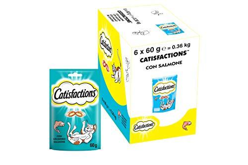 Catisfactions con Snack per Gatto Delizioso Salmone - Confezione da 6 Pezzi