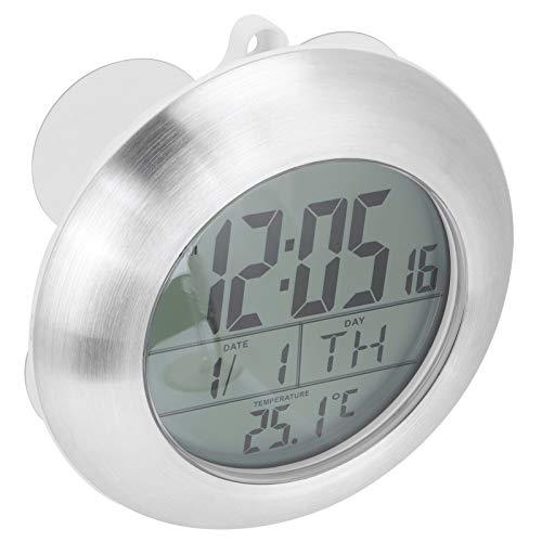 Reloj de pared para ducha Reloj de baño portátil a prueba de agua Reloj digital con pantalla de calendario de temperatura, con manual