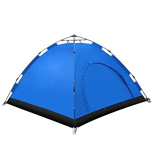 KLSHW Automatic Hydraulic Camping Waterproof Backpack Tent with Carrying Bag Outdoor Camping Hiking Beach Sports, 3-4 People's Best Outdoor Essentials (Color : Blue)