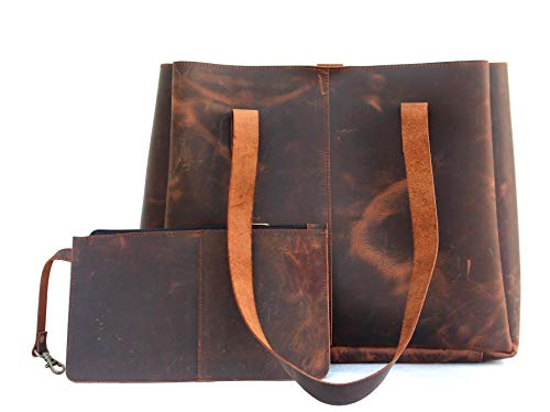 Genuine Soft Buffalo Leather Tote Bag Elegant Shopper Shoulder Bags by Lust Leather