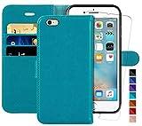 iPhone 6 Hülle,iPhone 6s Handyhülle,4.7 Zoll,MONASAY,[Panzerglas Schutzfolie][Kartenfach][Standfunktion][Magnet],Stoßfeste Schutzhülle,Premium Leder Flip Hülle für Apple iPhone 6/6s