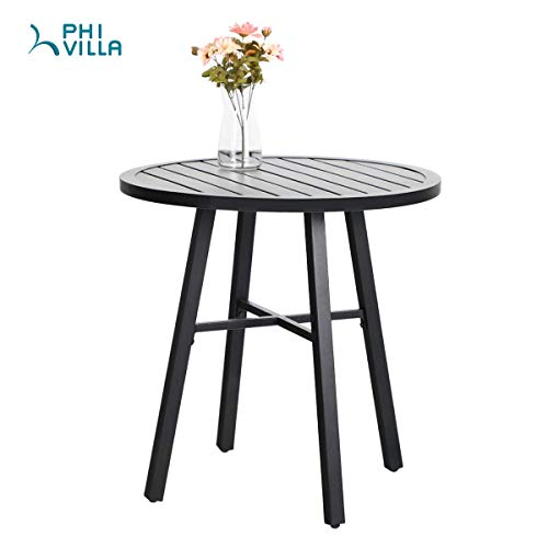 PHIVILLA Metal Patio Bistro Set 3 Piece Outdoor Table and Chairs Set with 28-Inch Steel Top Table
