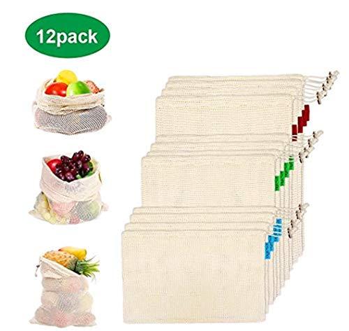 esafio 12 Reutilizable Producir Bolsas 100% Algodón Bolsas de la Compra Reutilizables Bolsas de Malla para Fruta Vegetal Lavable Totalizador de Compras