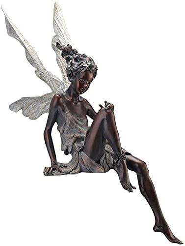 Fata Seduta Ornamento da Giardino, Statua Tudor e Turek Fata Seduta da Giardino in Resina, Scultura...
