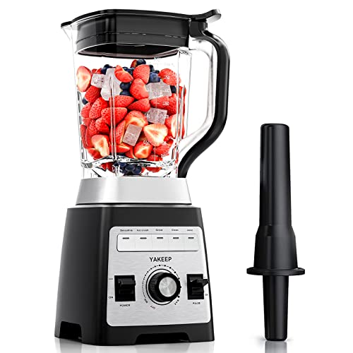 Frullatore Professionale, YAKEEP Tritaghiaccio 2000W 2L con Ancoretta, Tritatutto da Cucina Elettrico 27000 giri/min, 8 Lame in Acciaio, 5 Programmi Preimpostati, Senza BPA