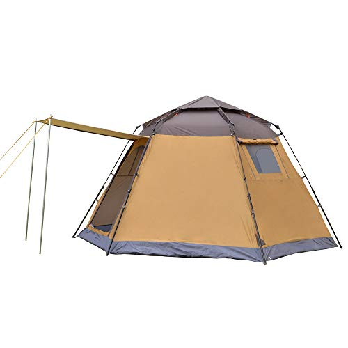 5-8 Person Fully Automatic Hexagon Camping Tent Instant Tents Sun Shelter Waterproof for Outdoor Sports Hiking Travel Rainfly-coffee