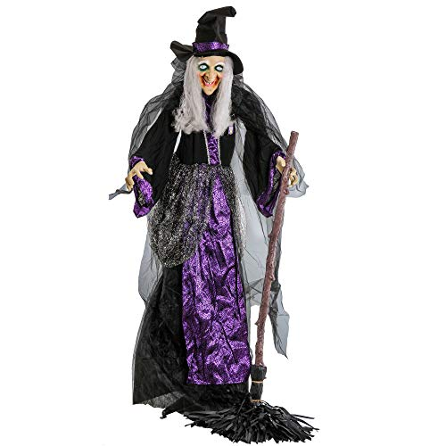 Halloween Prop Life Size Animated Enchantress with Broomstick