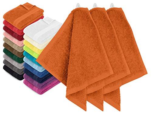 npluseins 3er-Pack zum Sparpreis - solide Frottiertücher - erhältlich in 20 modernen Farben und 8 verschiedenen Größen, Seiftuch (30 x 30 cm), terrakotta