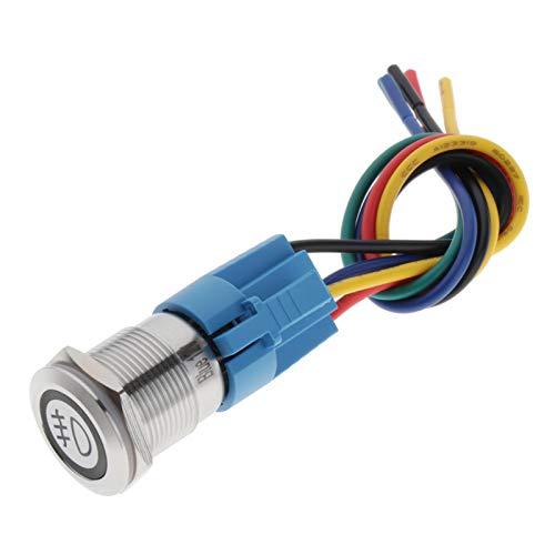yotijar Interruptor de Botón de Modificación de Bloqueo Automático para Automóviles, Vehículos, Azul - Luces antiniebla delanteras