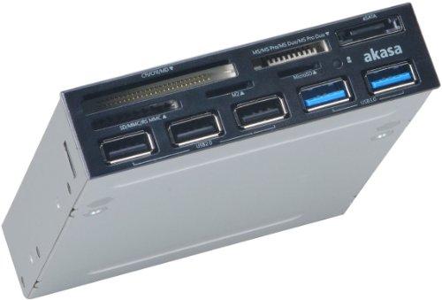 Akasa AK-ICR-16 interner Kartenleser (2x USB 3.0, 3x USB 2.0 Hub) schwarz