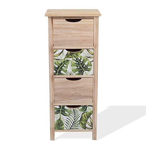 Rebecca Mobili Cassettiera moderna, comodino di legno, 4 cassetti, marrone verde, design moderno, per arredamento camera da letto casa - Misure: 84 x 34 x 27 cm (HxLxP) - Art. RE6132