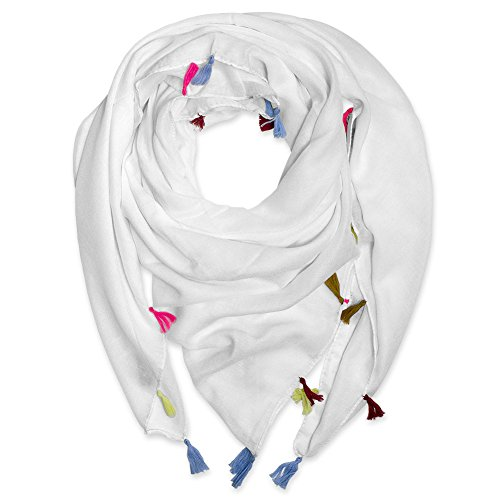 Soul-Cats® Tuch mit bunten Bommeln, Farbe: weiß