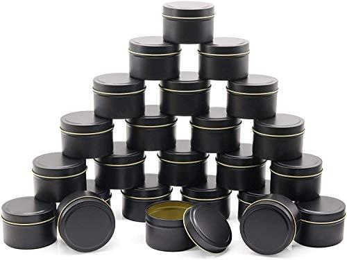 NRANSON Kerzendose 24 Stück, 5 Unzen, Kerzenbehälter, Kerzengläser für die Kerzenherstellung - Erhältlich in Silber, Schwarz, Gold (Black)