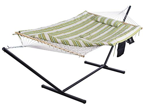 SUNCREAT Cotton Rope Hammock for Two People with Thick Hardwood Spreader Bars, Quilted Fabric Pad & Detachable Pillow, Extra Large Indoor/Outdoor Hammock with 12 FT Steel Stand, Ipad Bag & Cup Holder…