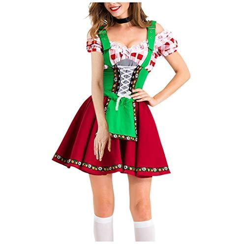 Shenye Frauen Oktoberfest Dienstmädchen Kostüm Gitter Nähen Kurzarm Vierkant Kragen Hohe Taille A-Linie Kleid Kostüm, Traditionelle Bayerische Bier Festival Cosplay Kostüme, 2 Stück Dirndl Kleid