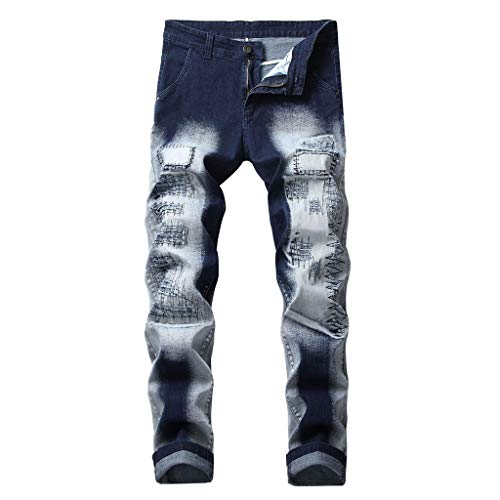ANJUNIE Men's Casual Straight Hole Jeans Ripped Distressed Denim Trouser Long Pants (8-Blue,32)