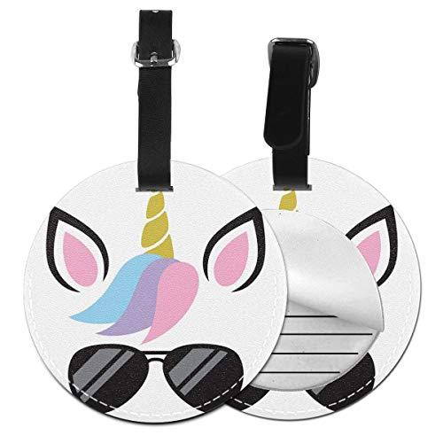 Slaytio Personalisierbares niedliches Einhorn-Gesicht mit Sonnenbrille, rundes Gepäcketikett, Koffer-Etikett aus PVC, Schwarz, 4 PCS
