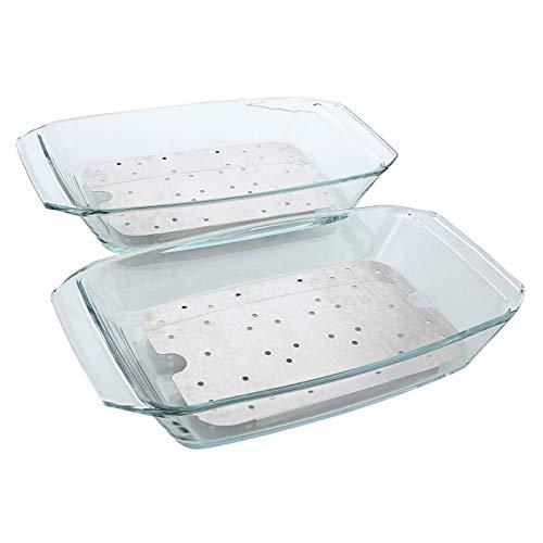 Electrolux Glasplatte für Dampfbackofen AEG – Set bestehend aus 2 Glasbehältern und 2 Grillrosten aus verchromtem Stahl