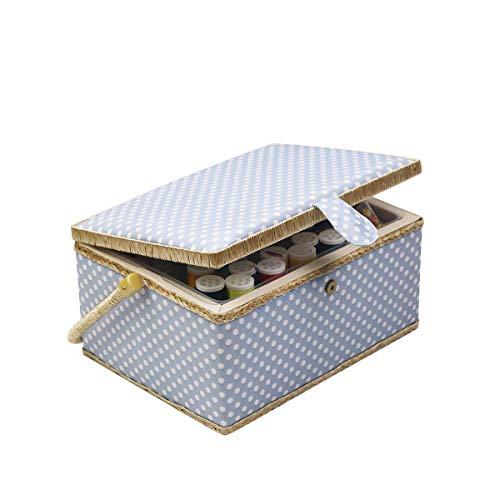 Caja de costura con accesorios para kit de costura, organizador de cesta de costura de madera D&D con accesorios para el hogar, viajes, lunares azules, grande Large L - BLUE