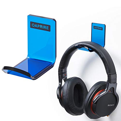 OAPRIRE Headphone Hanger Wall Mount Set of 2 - Headphone Holder Organization Kit with Cable Clip - PC Gaming Headset Stand with Crystal Texture - Universal Fit, Save Desktop Space (Clear Blue)
