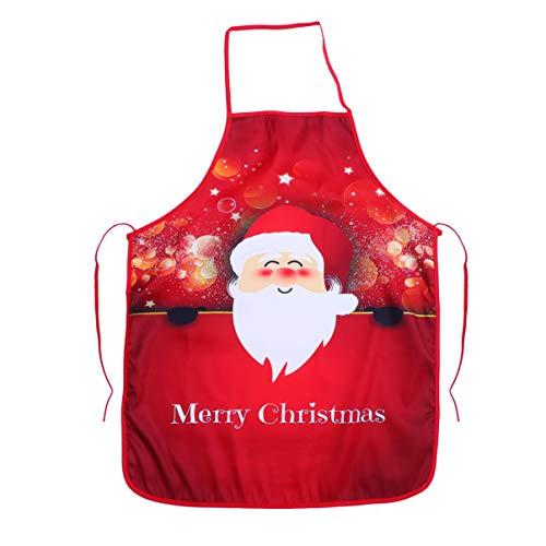 Hemoton Christmas Aprons Cartoon Cloth Aprons Kitchen Chef Apron Cooking Apron Kitchen Supplies for Women Men (Santa Claus)