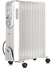 VonHaus Oil Filled Radiator – 2500W/2.5KW – 11 Fin – Plug in Portable Electric Heater – 3 Power Settings, Adjustable Temperature/Thermostat, Thermal Safety Cut off & 24 Hour Timer – White