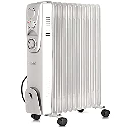 2500W radiator 11 oil-filled fins for heating mid to large sized rooms. Perfect for the home or office 3 power settings and adjustable thermostat control to achieve the perfect temperature. 24 hour timer lets you program the heater to automatically s...