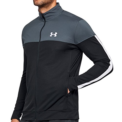 Under Armour Herren Sportstyle Pique Track Jacket leichte und atmungsaktive Sweatjacke komfortable Sportjacke mit enganliegender Passform, Grau (Stealth Gray ), XXL EU