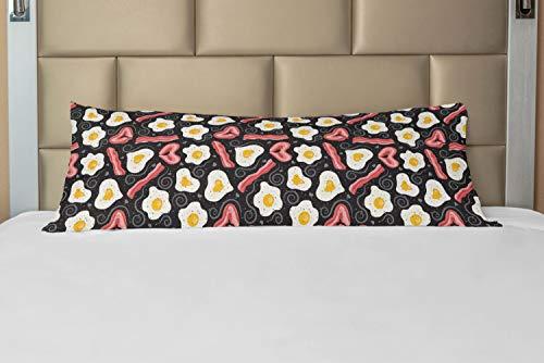 ABAKUHAUS Bacon Taie de Traversin avec Fermeture à Glissière, Petit déjeuner délicieux Protein, Taie d'oreiller Longue Décorative, 53 x 137 cm, Multicolore