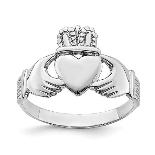 Anillo de oro blanco irlandés Claddagh celta Trinidad nudo anillo alto pulido [tamaño R 1/2] joyería regalos para mujeres