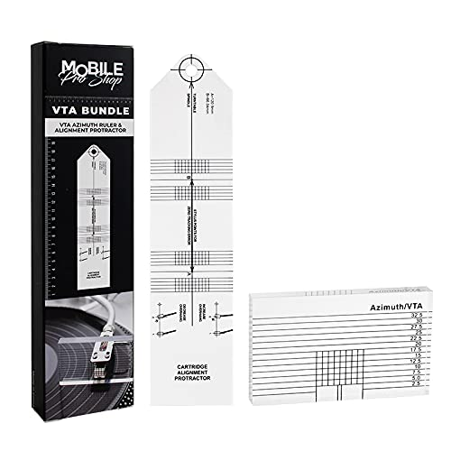 Mobile Pro Shop Turntable Azimuth Cartridge Alignment Protractor Set- Vinyl Record Player VTA Azimuth Ruler + Turntable Phono Cartridge Stylus Alignment Protractor