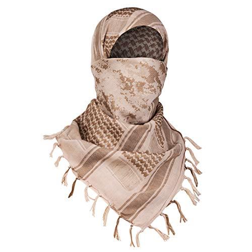 FREE SOLDIER Halstuch/Kopftuch Shemagh,100% Baumwolle Palituch Taktischer Schal Arabischer Wüsten Schals Unisex dreieckstuch,110 * 110cm,Tarnung Sand