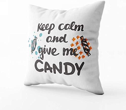 "Fundas de almohada para cama, diseño con texto en inglés ""Keep Calm and Give Me Candy con logotipo de Halloween y texto en inglés ""Keep Calm and Give Me Candy"""