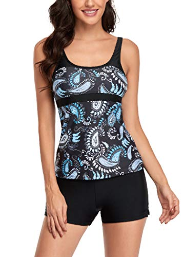 AOQUSSQOA Damen Blumenhalfter Tankini Set mit Shorts Hohe Taille Sportlicher Badeanzug Bikini (Blue, M)