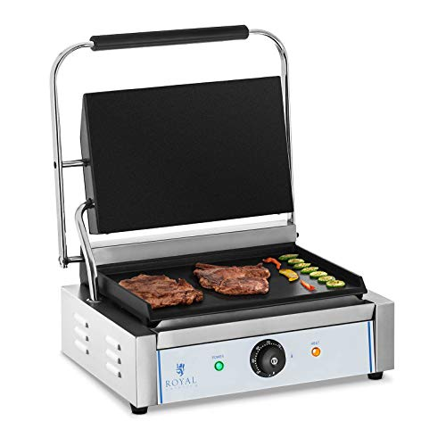Royal Catering RCKG-2200-F Kontaktgrill Elektrogrill Sandwich Maker Panini Grill (Glatt, 2.200W, 300°C, Gusseisen emailliert, Edelstahl, 34,8 x 23cm) Silber