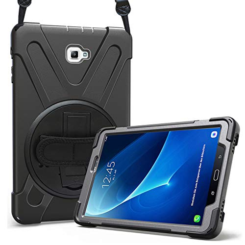 ProCase Bumper Galaxy Tab A 10.1 2016 Modelo Viejo, Carcasa Rugosa con Soporte Rotativo Asa de Mano Correa de Hombro, Funda Robusta Antichoque para Galaxy Tab A 10.1 SM-T580 T585 T587 -Negro