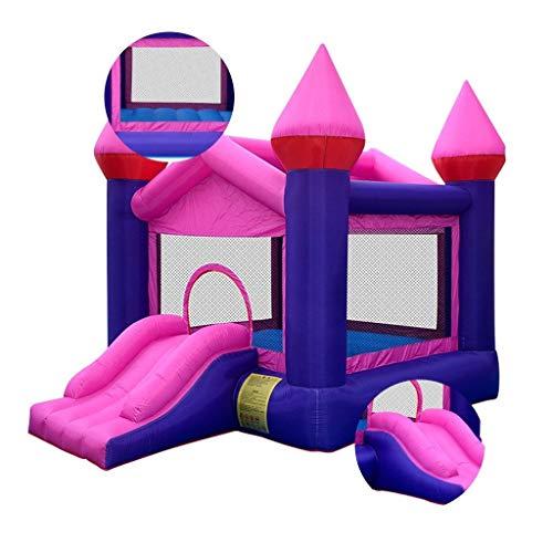Children's springkasteel indoor bouncy huis for kinderen Tuin safe kinderen trampoline met glijbaan, gratis föhn (Color : Blue, Size : 350 * 250 * 270cm)