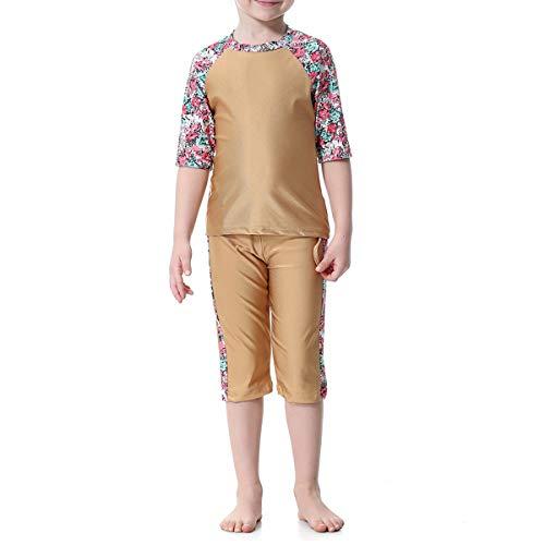 1 Pc Moslim Arab Meisjes Badpak Korte mouwen Top en Korte Pak Conservatieve Split Badmode H2006 voor Meisjes en Tiener-120cm(Kamel)